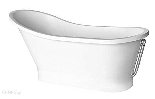 freistehende Badewanne aus Mineralguss 150x66x75 cm weiss Design GLORIA