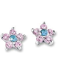 Prinzessin Lillifee Kinder-Ohrstecker Blüte Blume 5 mm 925 Sterling Silber rhodiniert Zirkonia rosa türkis für Mädchen ab 3 Jahren 431781