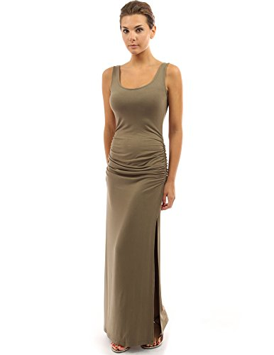 PattyBoutik femmes robe longue d'été sans manches brun moyen
