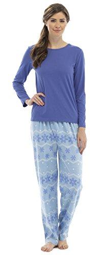 Tom Franks Ensemble de Pyjama Hiver Flocon de Neige Imprimé Femme Bleu