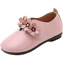 Riou Zapatos de bebé Calzado Deportivo de Cuero Antideslizante Inferior Suave para niños Sólido Flor Estudiante