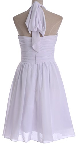 MACloth Women Short Chiffon Bridesmaid Dress Halter Wedding Party Formal Gown Fuchsia