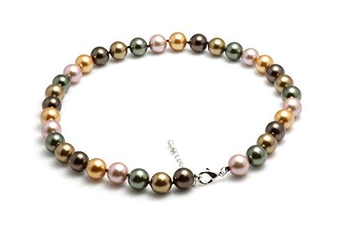 Schmuckwilly Damen Muschelkernperlen Perlenkette aus echter Muschel multifarbig 45cm 12mm mk12mm054-45