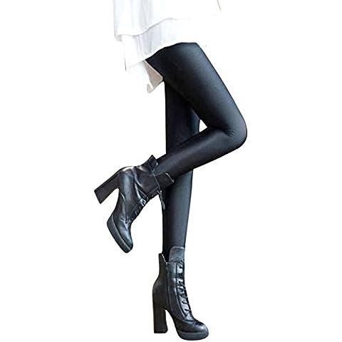 LaoZan mujer Costura Fina Pantalones Sección Delgada Pantalones De Cintura Leggings Negro(Estribo) Talla