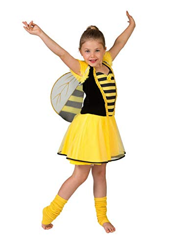 Halloweenia - Mädchen Kinder Kostüm Hummel Biene mit Tütü Kleid Flügel, Bumblebee Tutu Dress, perfekt für Karneval, Fasching und Fastnacht, 128, Gelb