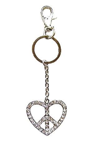 Cristallo a forma di cuore, in argento con Diamante, motivo: simbolo della pace Keyring-Portachiavi a forma di borsetta, regalo di compleanno