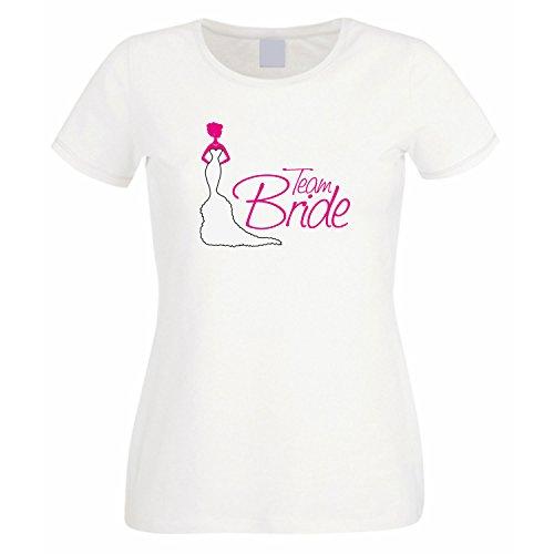 Enterrement de vie de jeune fille/femme motif bride team t-shirt pour femme Blanc - blanc