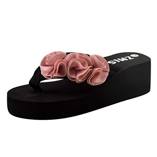 SANFASHION Sommer Mode Sandalen Frauen Blume Clip Zehe Flip Flops Rutschfeste Wedges Strand Hausschuhe Zebra Wedge Flip Flop