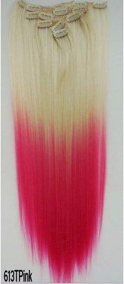 61cm (60cm) 130g Bleach Blond zu Pink zweifarbig Ombré silkystraight Clip in Hair Extensions 7Stück/Set für einen vollen (Hair Extensions Pink)