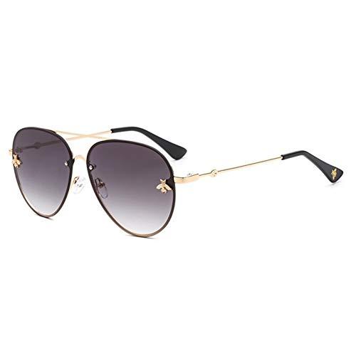 Siwen New Pilot Sonnenbrille Für Frauen Sonnenbrille Little Bee Dekoration Eyewear Rosa Gradient Linsen Uv400,Grau