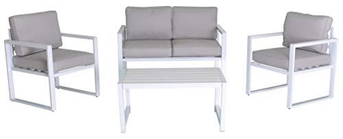 Enrico Coveri Garden Salotto Completo 4 Posti Lounge Bianco in Acciaio, Ideale per Esterno, Giardino E Terrazza