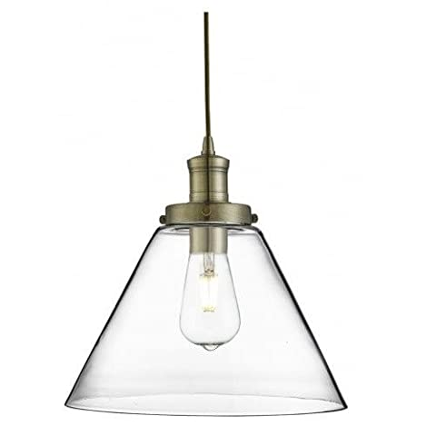 Searchlight 3228AB Pyramid Antique Brass 1 Lamp Vintage Pendant Light with Clear Glass Shade