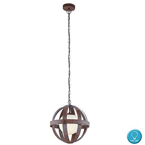 Glas Kugel Hänge Lampe Käfig Design Wohn Zimmer Decken Leuchte rost im Set inkl. LED Leuchtmittel