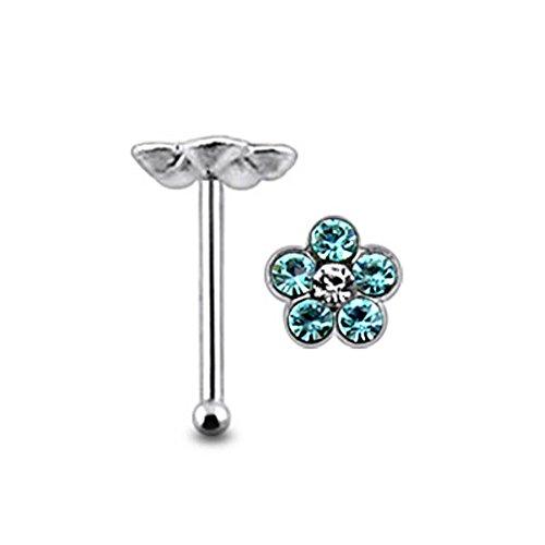 Blume Multi Light Blue Crystal Stein Top 22 Gauge 925 Sterling Silber Nase Knochen Stud Piercing