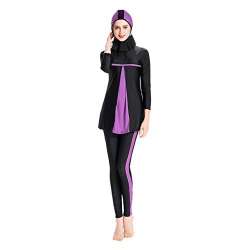 Lazzboy Frauen Muslimischen Badeanzug Mit Cap Printing Beachwear Bademode Muslimische Damen, Hijab-Schwimmanzug, Badeanzug, Sportkleidung(Lila,M)