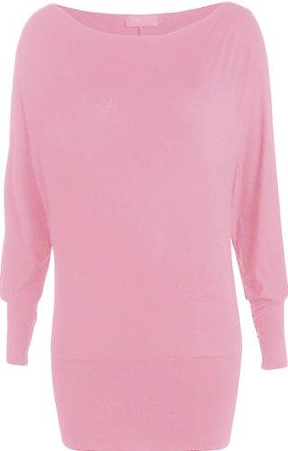 WearAll Damen Einfach Unifarben Langarm Fledermausärmel Top 16 Farben Größe  3642 Rosa