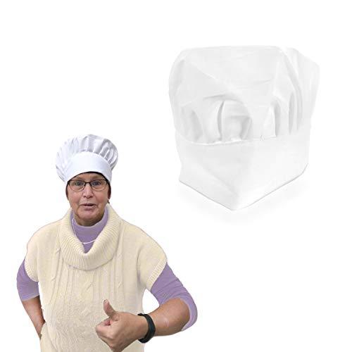 Oblique Unique® Kochmütze Koch Chef Hut Mütze Kopfbedeckung Kostüm Accessoire Fasching Karneval Motto Party Unisex Einheitsgröße Weiß