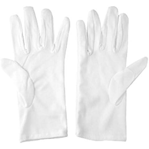 Guanti da donna di cotone bianchi dita sottili per guida lavoro taglia S (2 paia)