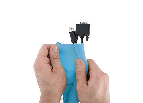 Hicab Selbstschließender Kabelschlauch in der Farbe Blau. Selbst zusammenziehender Kabelschlauch aus Gewebe für Schreibtisch und TV. Länge: 2 m; kann mit einer Schere gekürzt werden. Blau Tv