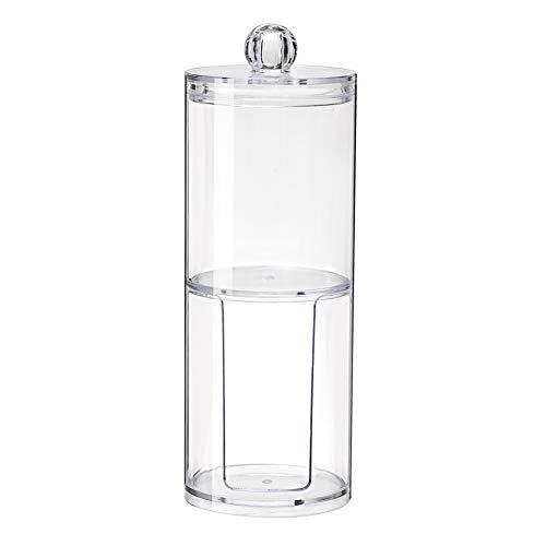 Beito Almohadilla de algodón 1PC Qtip Holder Dispenser Bathroom Clear Jar Organizador de acrílico para bolas de algodón, hisopos de algodón, Q-tips, Almohadillas de maquillaje (Doble capa)