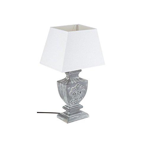 Grande lampe à poser - Esprit charme d'autrefois - Coloris GRIS patiné