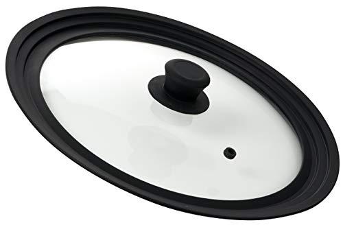 Bezrat coperchio in vetro temperato con finiture in silicone universale per pentole e padelle - fits 25.5, 28, e 30,5 cm - coperchio organizer soluzione