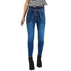 hahashop2 Damen Skinny Jeans Shaping Skinny Venus Gen Jeans Straight Leg Jeanshose Geknöpfte Füße, hohe Taille, Schleife, schmale Röhrenjeans