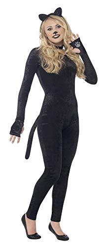 Smiffy's 44320S - Katzen-Kostüm mit Jumpsuit Schwanz Katze-Ohr-Stirnband und Kragen (Katze Ohr Kostüme)