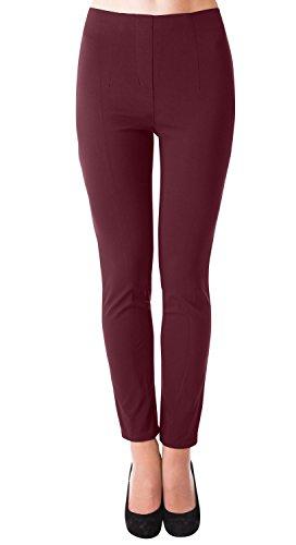 Gerades Bein Leinen Hose (Danaest Damen Stretch Hose gerades Bein (491) (38 / M, Bordeaux))