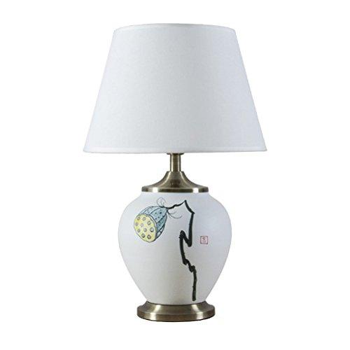 The harvest season- Wind Keramik Lampe Hand bemalt Lotus Einfache Wohnzimmer Schlafzimmer Nachttisch Beleuchtung / E27 Lampe (größe : 52cm) - Hand Bemalte Keramik Lampe