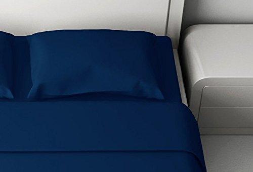 Completo letto Singolo Lenzuola 1 Piazza cotone 100% Colore BLU