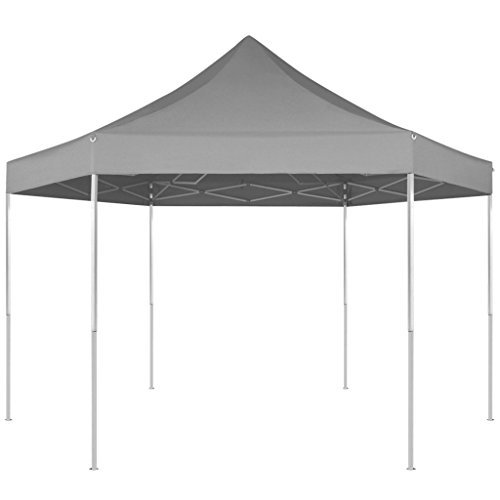 Festnight gazebo pieghevole tenda/gazebo pieghevole esagonale pop-up grigio 3,6x3,1 m