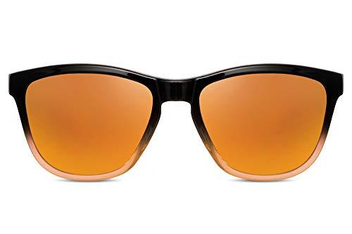 Cheapass Sunglasses Sonnenbrillen Stylish Schattierungen Sportlich schwarz bis gelber Rahmen mit orange verspiegelten Gläsern UV400-geschützt Herren Damen