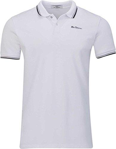 Ben Sherman Herren Shirt T-Shirt Polohemd Poloshirt Logo Shirt, Farbe: Weiss, Größe: 3XL