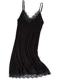 84caa6931a02 kivie Doux Femme Fond de Robe Classique Bretelles Jupons Mini Robe Femme  Lingerie