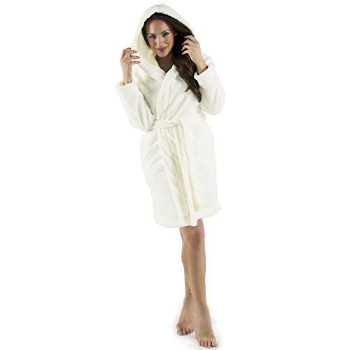 Damen Bademantel mit Kapuze, flauschiger Sherpa-Fleece, kurzer Saunamantel für Wellness Spa, CelinaTex 5001156, Trend Morgenmantel Serie Korfu M weiß (Damen-sommer-serie)