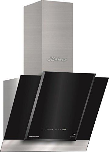 Kaiser AT 6438 ECO Exklusive Dunstabzugshaube 60cm kopffrei/Edelstahl Wandhaube /910m³/h/Schwarz Glas/kopffreihaube/ TouchControl/LED Display/Abzugshaube/ Timer/Umluftset/Abluft/Umlufthaube