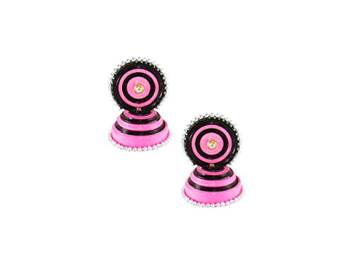 GoldGiftIdeas Handmade Black-Pink Quilled Earrings Stud With Jhumkas | Paper Quilling Earrings for Girls and Women  available at amazon for Rs.249