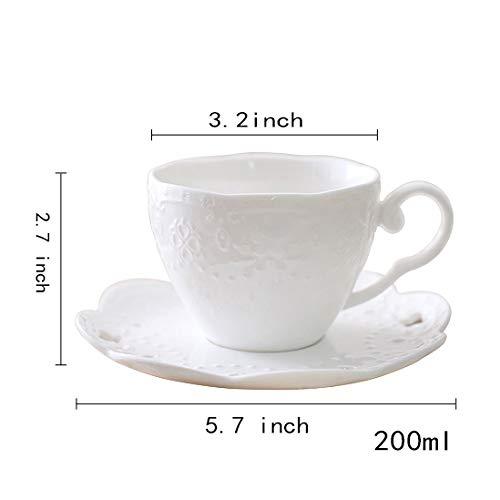 Tasses à café Mug en céramique, et Soucoupe créative Convient pour Le Bureau et la Maison Tasse Espresso Tasses à thé-Blanc 200ml