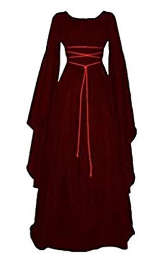 LCXYYY Damen Gothic Mittelalter Kleider Vintage Gothic Victorian Kleid Kostüm Cosplay Verkleidung Damen Kleid Maxikleid Retro Kleid Rundhalskleider Halloween Kostüm Langarm Renaissance Gotisch
