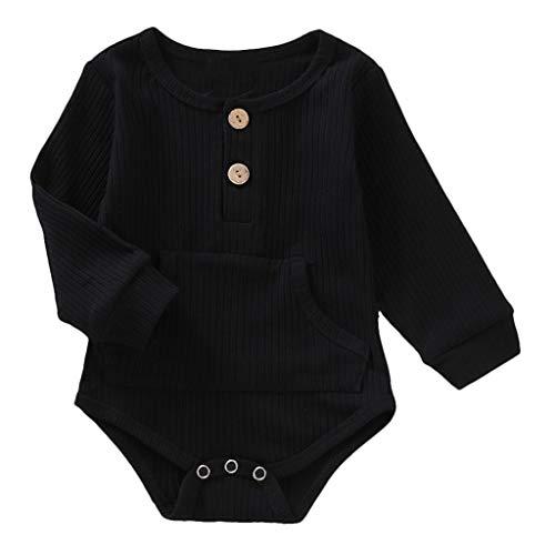 Realde Unisex Baby Langarm-Body im Einfarbige Oder Rundhals Jumpsuit Sommerkleid Kleidung Elegant Taste Achselbody im Baby Body Pink für Mädchen, Baby Body Schwarz für Jungen