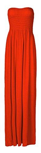 Fast Fashion Damen Maxi Kleid Plus Größe Plain Umführungsvorrichtung Bandeau Rost
