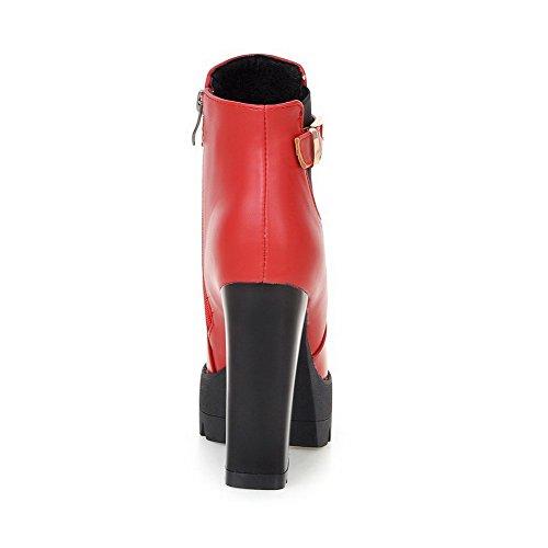 VogueZone009 Femme à Talon Haut Haut Bas Mosaïque Zip Bottes avec Métal Rouge