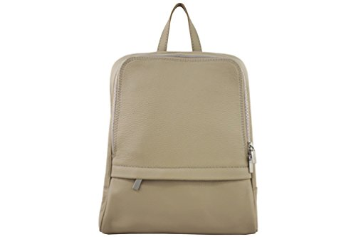 DesiDo® Lederrucksack Ledertasche Rucksack mit Reißverschluss Daypack Schulranzen Business Rucksack Laptoptasche Echtleder 30cm x 25cm x 11cm (Taupe) (Bag Fendi Evening)