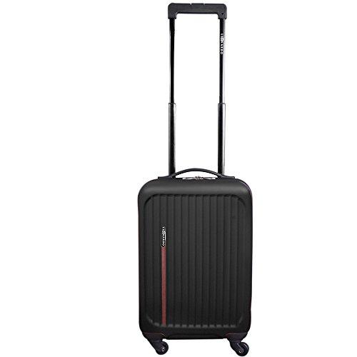 JEMIDI Handgepäck Trolley Boardcase Reise Koffer Hartschale Cabin Bordgepäck Trolly Bag (Modell Luxury Schwarz)
