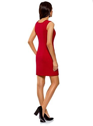 oodji Ultra Damen Basic Kleid aus Festem Stoff mit Herz-Ausschnitt Rot (4500N)