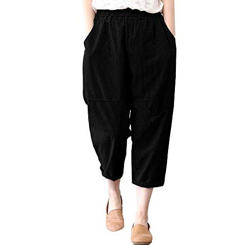 (Damen Haremshosen Pumphose Leinenhose, Vintage Leinen Loose Elastisch Taille Hosen Freizeit Atmungsaktiv Wide-Leg Yogahose mit Taschen von LEEDY)