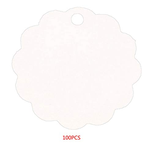royalr 100pcs Solid Color Etikett Kraft Papier Blank Hängeetiketten Mit Bordüren-Partei-Bevorzugung Anmerkungen Geschenkkarte Scalloped Hängen