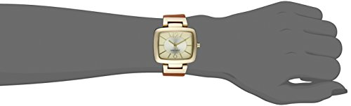 Nine West Women's Quartz Watch with Beige Dial Analogue Display and Brown Polyurethane Strap NW/1840CHHY