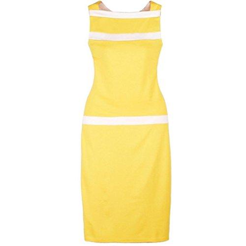 Damen aermellos Streifen Spleiss-Farbe Etuikleid Gelb
